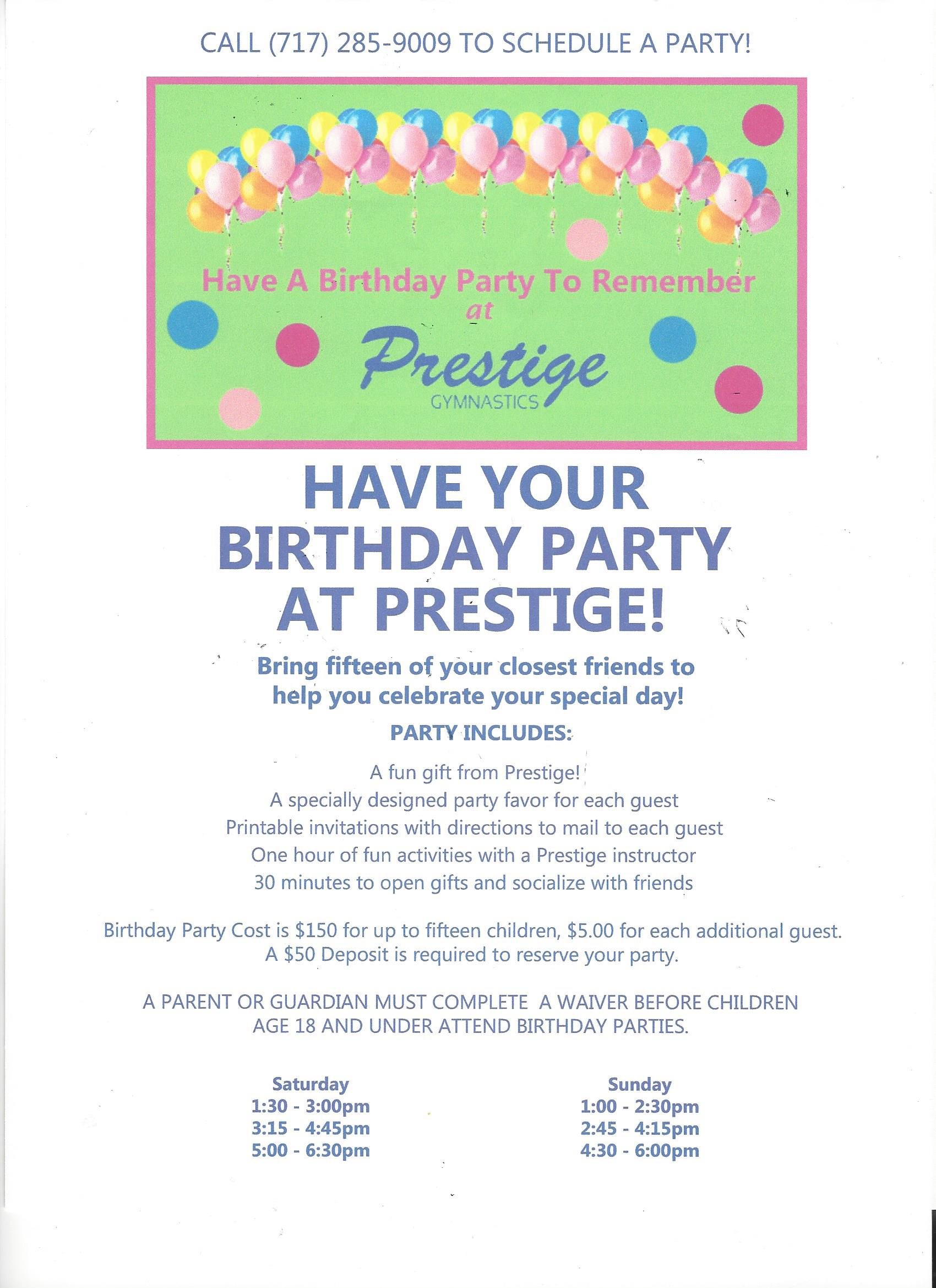 Birthday Parties – Prestige Gymnastics